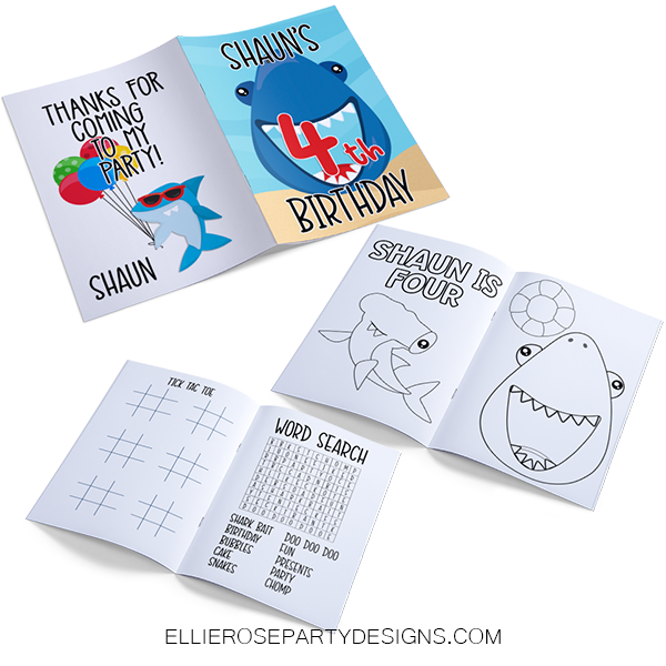 BABY SHARK BIRTHDAY PARTY PACKAGE ACTIVITY COLORING BOOK PRINTABLE WOO