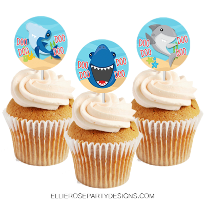 BABY SHARK BIRTHDAY PARTY PACKAGE CUPCAKE TOPPER WRAPPER PRINTABLE WOO