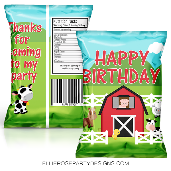 BARNYARD BIRTHDAY PARTY CHIP BAG FAVOR BAGS WOO