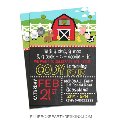 BARNYARD FARM OLD MCDONALD BIRTHDAY INVITATION WOO