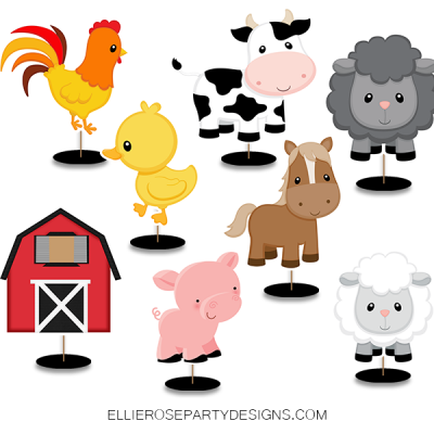 BARNYARD FARM OLD MCDONALD CENTERPIECES CHARACTOR CUTOUT TABLE DECORATIONS UPDATE woo