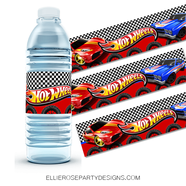 HOT WHEELS WATER BOTTLE LABELS WOO