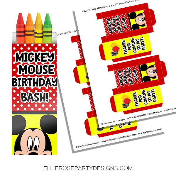 MICKEY MOUSE CRAYON BOX PRINTING TEMPLATE WOO