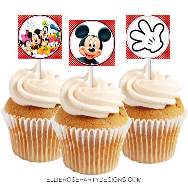 MICKEY MOUSE CUPCAKE TOPPER PRINTABLE INSTANT DOWNLOAD WOO 2