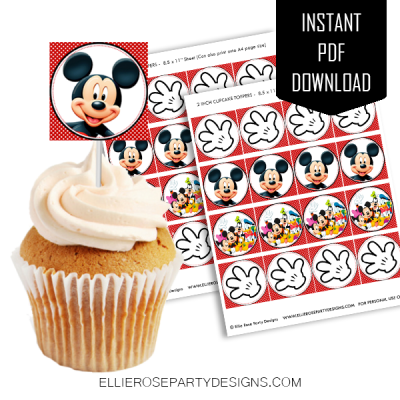 MICKEY MOUSE CUPCAKE TOPPER PRINTABLE INSTANT DOWNLOAD WOO