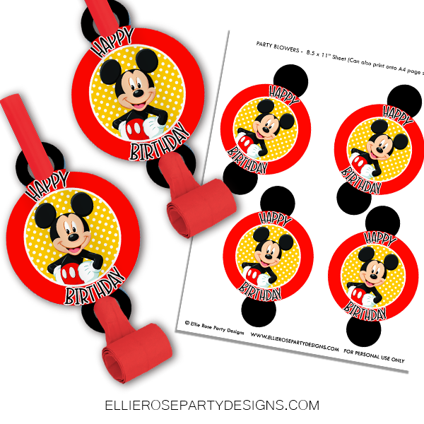 MICKEY MOUSE PARTY BLOWERS PRINTABLES WOO