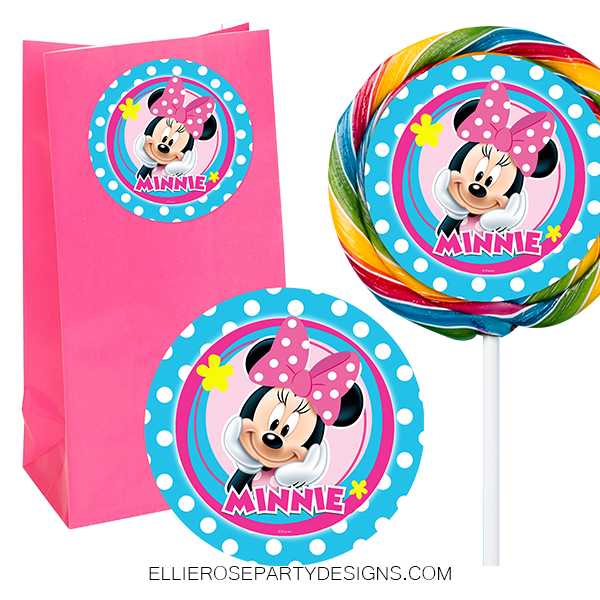 MINNIE MOUSE BOWTIQUE FAVOUR FAVOR STICKER AND SWIRL POP LOLLIPOP STICKERS WOO