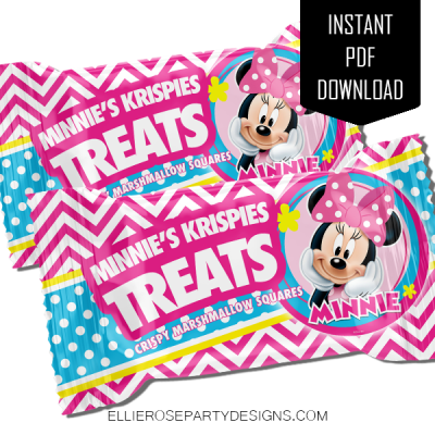 MINNIE MOUSE BOWTIQUE RICE KRISPIE TREAT TEMPLATE INSTANT DOWNLOAD WOO