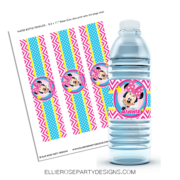 10 MINNIE BOWTIQUE BOW TOONS BIRTHDAY PARTY FAVORS WATER BOTTLE LABELS WRAPPERS