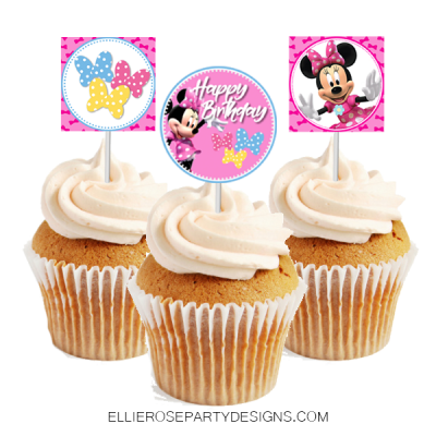 MINNIE MOUSE CUPCAKE TOPPERS INSTANT DOWNLOAD WOO UPDATE 2