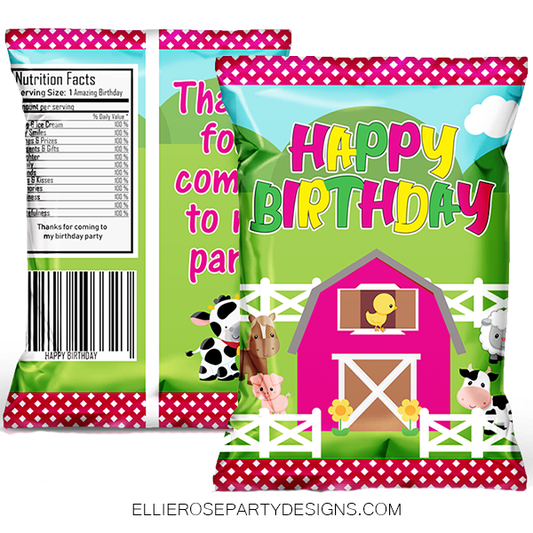 PINK FARM BARN HOUSE FARMHOUSE BARNYARD CHIP BAG PARTY FAVOR WOO