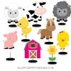PINK FARM HORSE COW PIG CHICKEN DUCK SHEET BARN HOUSE FARMHOUSE TABLE DECORATION woo