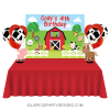 RED FARM BARNYARD ANIMAL DESSERT TABLE BACKDROP WOO