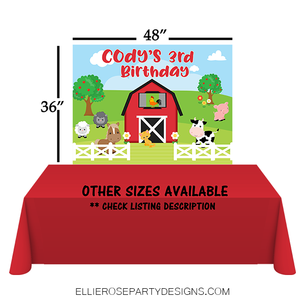 RED FARM BARNYARD ANIMAL DESSERT TABLE BACKDROP WOO 2