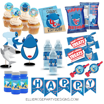 SHARK BIRTHDAY PARTY PRINTABLE PACK woo