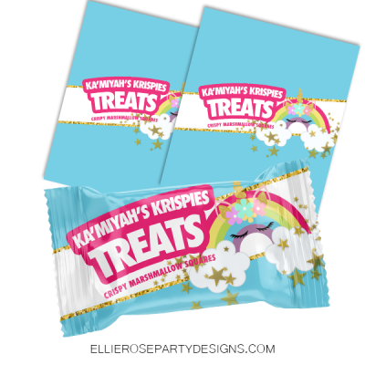 UNICORN GLITTER HORN STARS RICE KRISPIE TREAT CUSTOM WOO