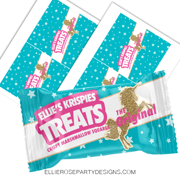 UNICORN GLITTER HORN STARS RICE KRISPIE TREAT WOO2