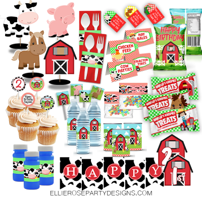 FARM FARMHOUSE BARNYARD OLD MCDONALD BIRTHDAY PARTY PACKAGE PACK SET WOO