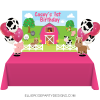 PINK FARM BARNYARD ANIMAL DESSERT TABLE BACKDROP WOO