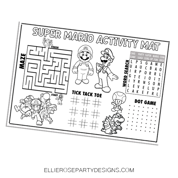 SUPER MARIO BROTHER ACTIVITY GAMES GOODIE BAGS