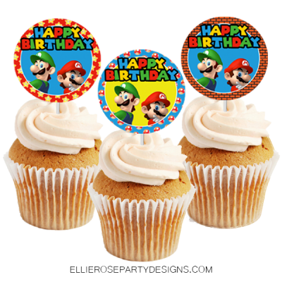 Super Mario Bros Cupcake Toppers Instant Download My Store