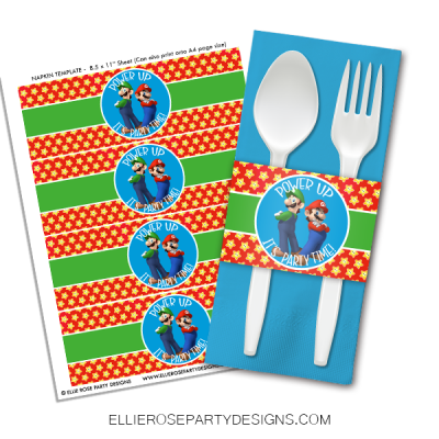 SUPER MARIO NAPKIN RING WRAPPER FOR DESSERT TABLE