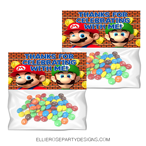 SUPER MARIO TREAT BAG TOPPER GOODIE BAGS DIY PNG