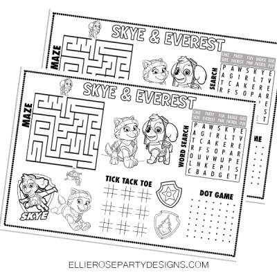 SKYE AND EVEREST ACTIVITY PLACEMAT SHEETS