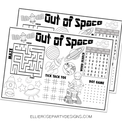SPACE THEME BIRTHDAY PARTY ACTIVITY COLORING MAT 4